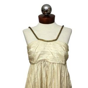 CALYPSO ST BARTH gilded silk gold halter dress 8